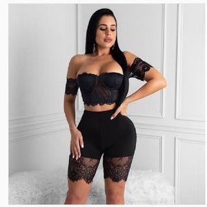 Women Sets Summer Tracksuits Lace Slash Neck Crop Top+Shorts Suit Two Piece Set Night Club Party Street 2 Pcs Outfits