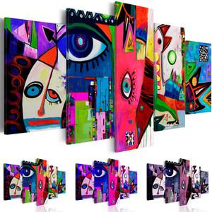 Bunte moderne abstrakte Zeichen Leinwanddruck moderne Kunst Malerei Mode-Design für Heimtextilien, wählen Sie Farbgröße, Multicolor (