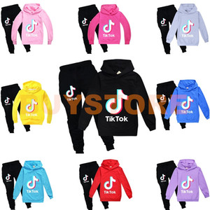 TikTok Çocuk Seti Uzun Kollu Hoodie Pantolon Pamuk Çok renkli Opsiyonel Çocuk Giyim Çocuk Kazak Boy / Kız Giyim 2PCS / set Blend