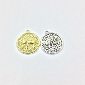 Earuifa 20pcs 18mm Elephant print gold / Silver plated Zinc Alloy Charms Pendant Jewely DIY قلادة 2 colors