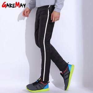 Зимние брюки Мужские плюс размер теплый свободного покроя брюки мужчины мужчины спортивные брюки Брюки для мужчин утка вниз брюки эластичный пояс теплые GAREMAY