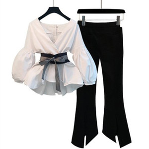 Mujeres de dos piezas Set de dos piezas Blusa de cuello en v blanco con fajas y lápiz dividido Ropa de pantalón Dama 2019 primavera otoño trajes de moda