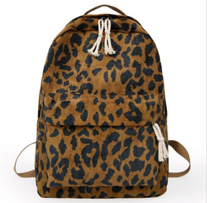 Women corduroy Leopard Printing Large Capacity School Bag Brown Zipper Travel Backpack