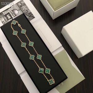 빈티지 알함브라 브랜드 디자이너 S925 스털링 실버 (10) 녹색 청록색 네 잎 클로버 꽃의 부적 목걸이를 들어 여성의 보석