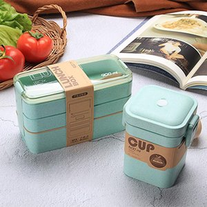 900ml Saudável material Lunch Box 3 camadas de palha de trigo Bento Caixas de microondas Louça Food Storage Container Lunchbox