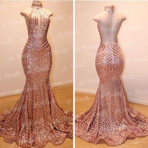 Bling bling oro rosa promenade della sirena abiti sexy backless alta gioiello collo backless abito formale abiti da sera economici veste vestidos de fiesta