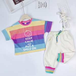 Toddler Baby Boy Girls Clothing Set Cute Striped Rainbow Print Short Sleeve T Shirt and Long Pants 2pcs Summer Outfits