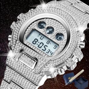 Iced Out Алмазный Часы для мужчин светодиодный цифровой Мужские часы G Стиль Водонепроницаемый Спортивные наручные часы Человек Мода Мужской часы