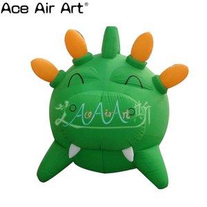 Beau dessin animé modèle animal gonflable, cochon vert gonflable rond avec le modèle de dessin animé de corne à vendre