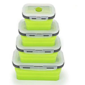 500ml 실리콘 접을 수있는 도시락 상자 식품 저장 용기 Bento BPA 무료 Microwavable 휴대용 피크닉 캠핑 장방형 야외 상자