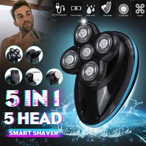 5 em 1 Homens barbeador elétrico recarregável 4D Smart Control elétrica Shaving Beard Máquina Navalha Clipper Ouvido, Nariz Trimmer cabelo