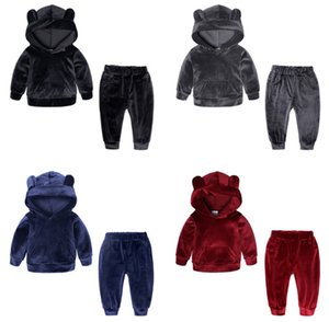 sudaderas con capucha de terciopelo pantalones + 2 piezas conjunto para los niños de las muchachas de la ropa de 2019 niños del traje niño trajes chándal ropa de bebé