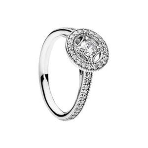 Limpar Cz Diamante Vintage Allure Anéis Definir Caixa Original para Pandora 925 Sterling Silver Luxury Designer Jewelry Mulheres Anel