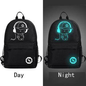 Student School Backpack Anime Luminous USB Charge Laptop knapsack Computer Backpack For Teenager Anti-theft Boys Designer School Bag