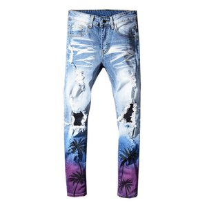 Sokotoo Men's coconut palm printed colored ripped jeans Slim fit holes distressed stretch denim pants Trousers