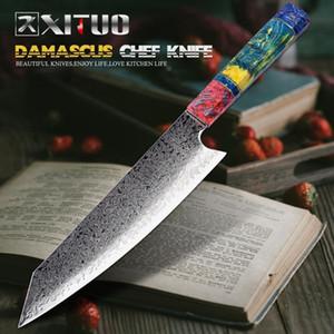 Xituo chef de Nakiri couteaux 67 couches japonais Damas acier Damas Couteau de chef 8 pouces Damas Couteau de cuisine en bois solidifiée HD