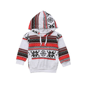 Retro Weihnachten Kleinkind Kind-Baby-T-Shirt lange Hülse Hoodie warmer Winter Top-Mode-Mädchen im Freien Kleidung