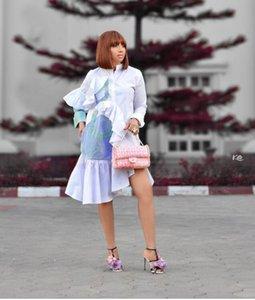 2020 ASB9219 jupe chemise pour femmes Vêtements bande Loisirs Splicing Lotus bord feuille Irrégularité Jupe Robe à manches longues B9219