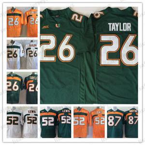 26 Sean Taylor 52 Ray Lewis 87 NCAA Reggie Wayne Miami Furacões Jerseys Mens Todos Costurado Colégio Camisas de Futebol Universidade de High School