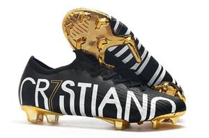 NIKE Orijinal Kırmızı Altın CR7 Çocuk Futbol Cleats Mercurial Superfly V CR7 FG Çocuklar Futbol Ayakkabıları Ronaldo Bayan Futbol Çizmeler 36-45