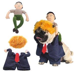 Pet Одежды для собак Хэллоуина Забавного президента Назад Человек Желтого волоса Camel Постоянной сменить платье Рождества платья партии собака костюм