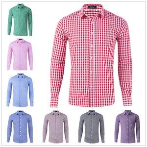 New Mens Shirs manga comprida Camisas Casual Cotton Multicolor Camisa Xadrez Fashion Business Shirt Vestuário Tamanho Grande S-XXL