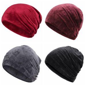 Unisex Fashion Leisure Winter Cap Casual Beanies Slouch Bonnet Velvet Beanie Soft Warm Stretch Hat Skiing Snowboard Warmer Hat