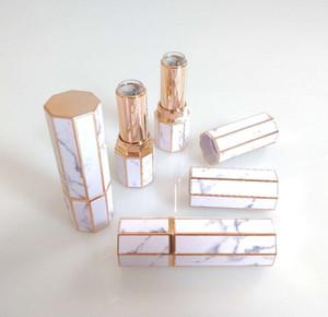 Bottiglie di marmo Lipstick Tubes Octangle Vuoto Lip Gloss tubo di plastica del labbro del rossetto cosmetico di corsa bottiglia Contenitori Bottiglie GGA2355