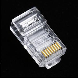 Computador de cristal RJ45 8P8C CAT5E CAT6 8 do núcleo de encaixe modular conector do cabo de rede Chefes chapeado ouro