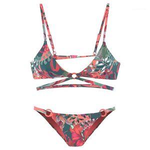 Swim Wears femmine benda Beach Abbigliamento Donna Vintage stampa floreale Bikini sexy di estate del progettista 2pcs Ring Cycle Partchwork