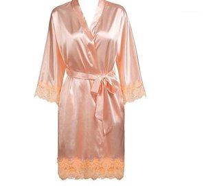 Women Sleepwear Summer Kimono Solid Color Bathrobe Sashes Trim Bride Bridesmaid Wedding Robe Clothing Sexy Lace Panelled
