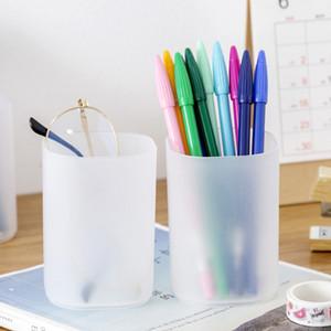 Fosco claro Lápis Pot Holder Plastic Cilindro Stationery Office Caixa de armazenamento Batom Escova Maquiagem Tool Organizer