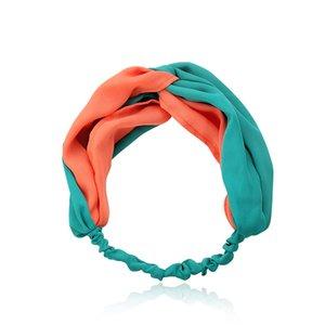 Atacado New Fashion Patchwork Hairbands Simples Ampla Cruz Torção Bow Headband Elastic Atado Turbante Headwear para Mulheres e Meninas