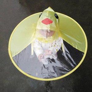 Creative Cartoon Duck Rain Hat Foldable Children Raincoat Umbrella Cape Cute Rain Coat Cloak Universal for Boys Girls Dropship