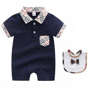 2019 Infant Primavera Outono Bebés Meninos Meninas Roupa recém-nascido da criança do bebê Romper Macacão manga curta Camiseta Algodão