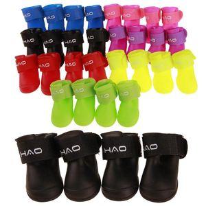 4pcs / set del perro de animal Lluvia ShoesDog botines de goma portátil Anti Slip a prueba de agua de lluvia del perro del gato zapatos otoño e invierno S / M / L