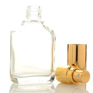 Yüksek Kalite 15ml Şeffaf Kare Cam İnce Mist Püskürtme Şişe Taşınabilir Mini Parfüm Atomizer Aromaterapi Nemlendirici Sıvı şişeleri
