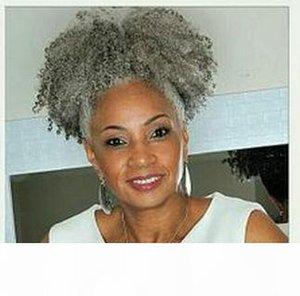 100% réelle bouffée cheveux gris queue de cheval clip afro extension de cheveux Remy bouclés crépus afro cordon de serrage des queues de cheval cheveux gris pièce 120g