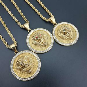 Kalça hop erkekler altın renk titanium paslanmaz çelik cz kübik zirkonya aslan başkanı kolye kolye erkekler takı için
