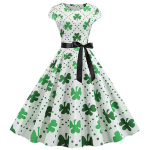 New Women's Dress Clover Cosplay Costume Round Neck Short Sleeve Swing Dress Summer Green St. Patrick's Halloween Party