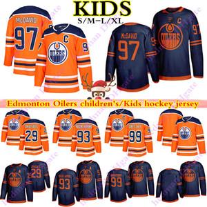 2019-2020 Edmonton Oillers Jerseys 97 CONNOR MCDAVID 99 Уэйн Гретцкий 29 Леон Draisaitl 93 Ryan Nugent Hopkins Youth Kids Hockey Jersey