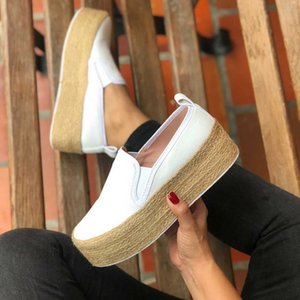 2020 Women Golden Flats Platform Shoes Fashion Sneakers Leather Suede Ladies Loafers Slip On Flat Casual Solid Color White Shoes