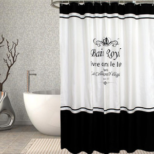 35 Curtain Waterproof Bath Curtains Bathroom Crown Letters Printed For Bathtub Bathing Cover Extra Large Wide 12pcs Hooks