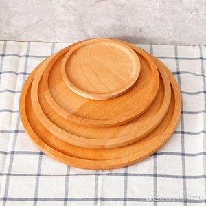 New Round Wood Plate Dish Dessert Plate Sushi Dish Fruits Platter Dish Tea Server Hotel Tray Cup Holder Bowl Pad Tableware A403