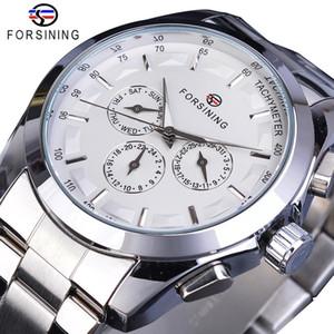 Forsining blanco de la plata Masculino reloj mecánico 3 Sub Dial manos luminosas Fecha de acero inoxidable banda del hombre de negocios Deporte Montre Homme
