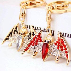 Crystal Rhinestone Key Ring Holder Alloy Animal Bat Pendant Key Chain Gold Tone Lobster Clasp Car Accessories Female Bag Charm Keychain