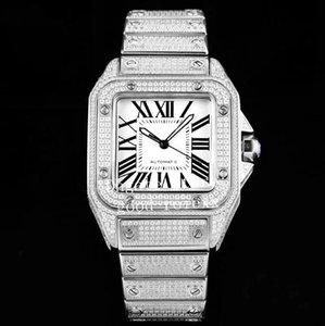 Унисекс Mens Rhinestone Roman Атоматической 2824 Часы Eta Полного Алмазный браслет Дело Кристалл 100 женщин вахты Eta Square Наручные часы