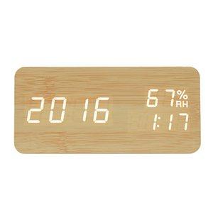 LED Wooden Alarm Clock Watch Table Voice Control Digital Wood Despertador Electronic Desktop USB AAA Powered Clocks Table Decor