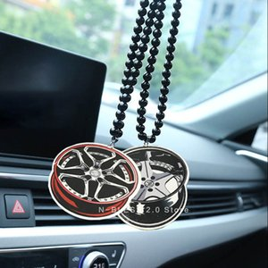 Car interior rearview mirror hanging Accessories Double sided wood wheel hub Car Auto Rear view Mirror Pendant non-smoking