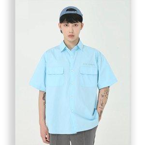 Men Summer New Short Sleeve Loose Casual Candy Color Shirt Male Streetwear Hip Hop Shirt